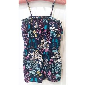 Mossimo Floral Bird Print Ruffle Jumpsuit Romper S